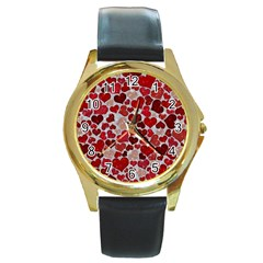 Sparkling Hearts, Red Round Gold Metal Watches