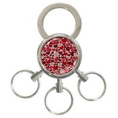 Sparkling Hearts, Red 3-Ring Key Chains