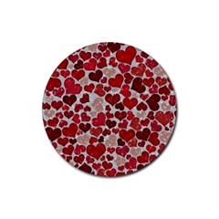 Sparkling Hearts, Red Rubber Round Coaster (4 pack)
