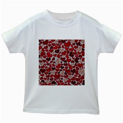 Sparkling Hearts, Red Kids White T-Shirts