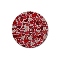 Sparkling Hearts, Red Magnet 3  (Round)