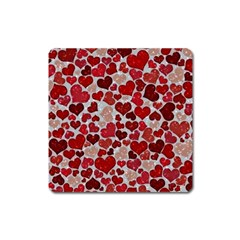 Sparkling Hearts, Red Square Magnet