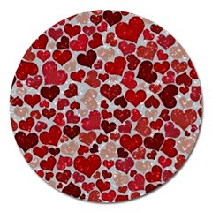Sparkling Hearts, Red Magnet 5  (Round)