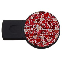 Sparkling Hearts, Red USB Flash Drive Round (1 GB)