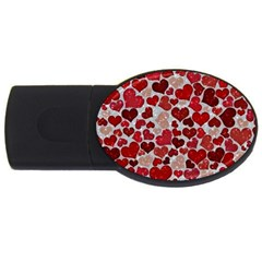 Sparkling Hearts, Red USB Flash Drive Oval (1 GB)