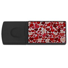 Sparkling Hearts, Red USB Flash Drive Rectangular (2 GB)