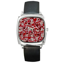 Sparkling Hearts, Red Square Metal Watches