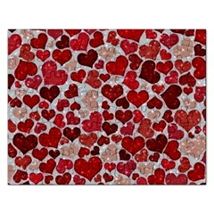 Sparkling Hearts, Red Rectangular Jigsaw Puzzl
