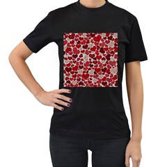 Sparkling Hearts, Red Women s T-Shirt (Black) (Two Sided)