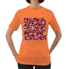 Sparkling Hearts, Red Women s Dark T-Shirt