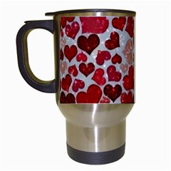 Sparkling Hearts, Red Travel Mugs (White)