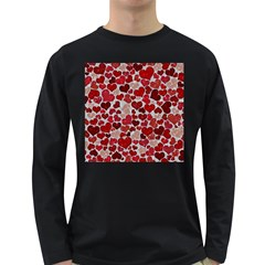 Sparkling Hearts, Red Long Sleeve Dark T-Shirts