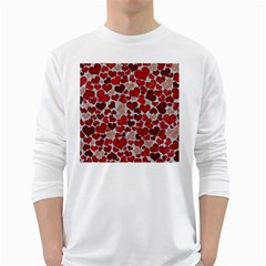 Sparkling Hearts, Red White Long Sleeve T Shirts