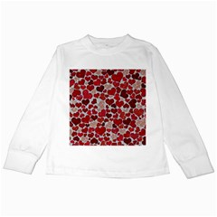Sparkling Hearts, Red Kids Long Sleeve T-Shirts