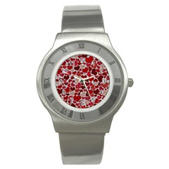 Sparkling Hearts, Red Stainless Steel Watches