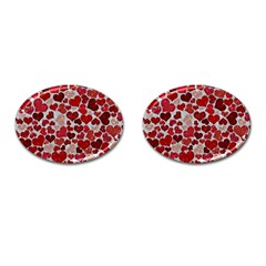 Sparkling Hearts, Red Cufflinks (Oval)