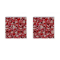 Sparkling Hearts, Red Cufflinks (Square)