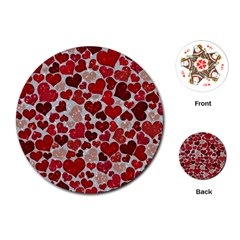 Sparkling Hearts, Red Playing Cards (Round)