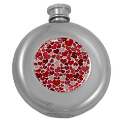 Sparkling Hearts, Red Round Hip Flask (5 oz)