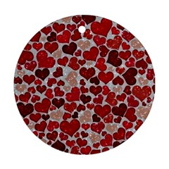 Sparkling Hearts, Red Round Ornament (Two Sides)