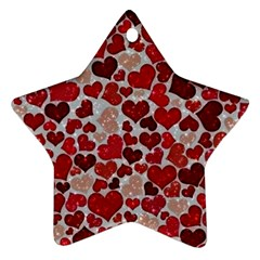 Sparkling Hearts, Red Star Ornament (Two Sides)