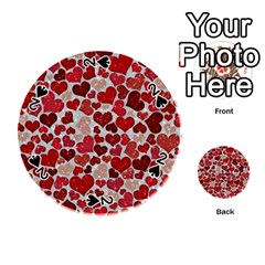 Sparkling Hearts, Red Playing Cards 54 (Round)