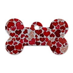 Sparkling Hearts, Red Dog Tag Bone (Two Sides)