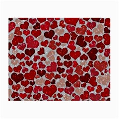 Sparkling Hearts, Red Small Glasses Cloth (2-Side)