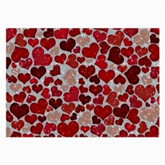 Sparkling Hearts, Red Large Glasses Cloth (2-Side)