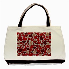 Sparkling Hearts, Red Basic Tote Bag (Two Sides)