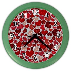 Sparkling Hearts, Red Color Wall Clocks
