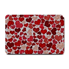 Sparkling Hearts, Red Small Doormat