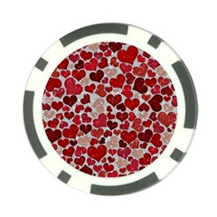 Sparkling Hearts, Red Poker Chip Card Guards