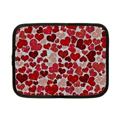 Sparkling Hearts, Red Netbook Case (Small)