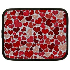 Sparkling Hearts, Red Netbook Case (Large)
