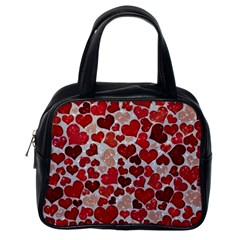 Sparkling Hearts, Red Classic Handbags (One Side)