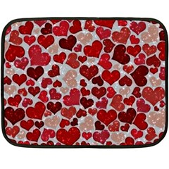 Sparkling Hearts, Red Double Sided Fleece Blanket (Mini)
