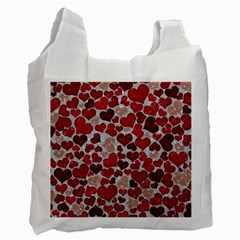 Sparkling Hearts, Red Recycle Bag (One Side)