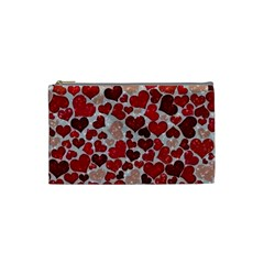 Sparkling Hearts, Red Cosmetic Bag (Small)
