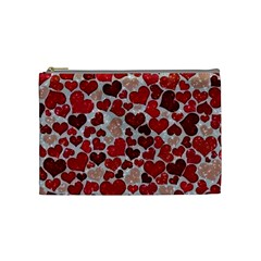 Sparkling Hearts, Red Cosmetic Bag (Medium)