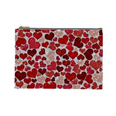 Sparkling Hearts, Red Cosmetic Bag (Large)