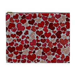 Sparkling Hearts, Red Cosmetic Bag (XL)