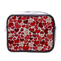 Sparkling Hearts, Red Mini Toiletries Bags