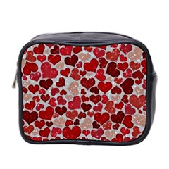Sparkling Hearts, Red Mini Toiletries Bag 2-Side