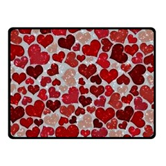 Sparkling Hearts, Red Fleece Blanket (small)