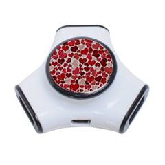 Sparkling Hearts, Red 3-Port USB Hub