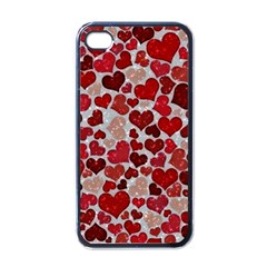 Sparkling Hearts, Red Apple iPhone 4 Case (Black)