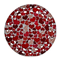 Sparkling Hearts, Red Ornament (Round Filigree)
