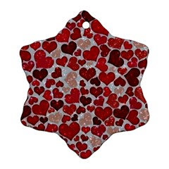 Sparkling Hearts, Red Snowflake Ornament (2-Side)