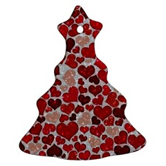 Sparkling Hearts, Red Christmas Tree Ornament (2 Sides)